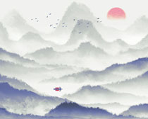 艺术风景插画PSD素材