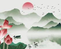 荷花山水风景画PSD素材