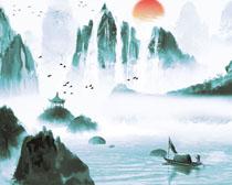 山水艺术绘画展示PSD素材