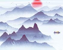 山水插画风景PSD素材