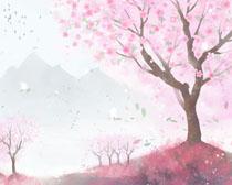 樱花风景水彩画PSD素材