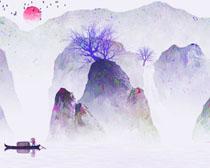 山峰风景插画PSD素材