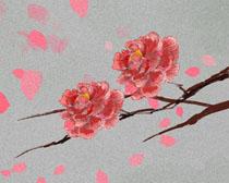 手绘花朵画PSD素材
