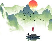 渔船山水风景画PSD素材