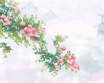 亭子与花朵风景PSD素材