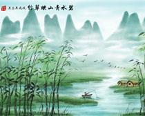 青水竹子风景PSD素材