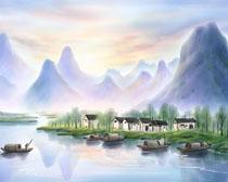 小溪河流房屋风景画PSD素材