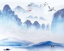 中国山水风光画PSD素材