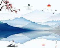 湖水山川风景画PSD素材