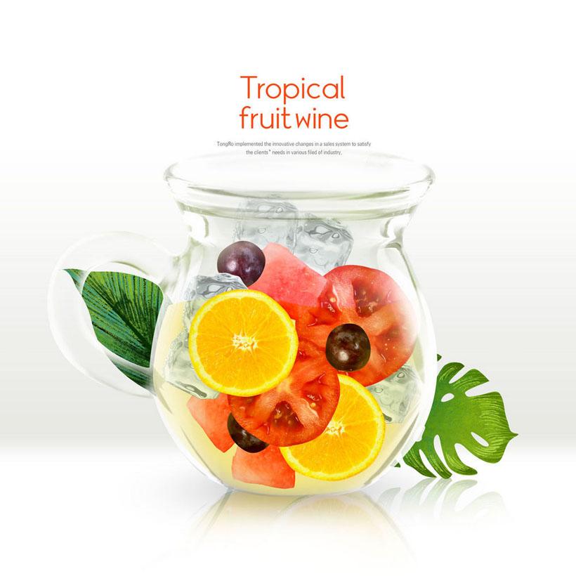 水果冰塊杯子插畫PSD素材