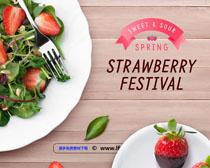 甜品圈与草莓广告PSD素材