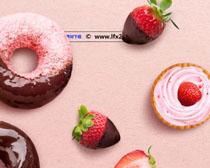 草莓甜品圈广告PSD素材