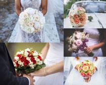 新娘手抱鮮花攝影高清圖片
