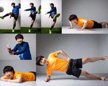 运动的小男孩摄影高清图片