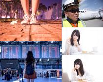 美丽的女孩与工作男人摄影高清图片
