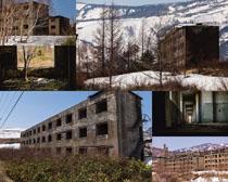 破裂的房屋建筑摄影高清图片
