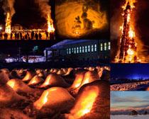 篝火夜色风景摄影高清图片