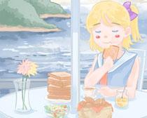 吃面包的女孩PSD素材