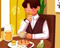 卡通绘画男孩早餐PSD素材
