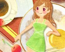 色彩绘画女孩PSD素材
