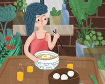 吃东西的女孩插画PSD素材