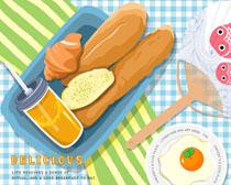 传统早餐食物PSD素材