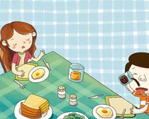 儿童的早餐卡通画PSD素材