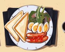 早餐食物展示PSD素材