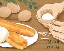 早餐鸡蛋油条PSD素材