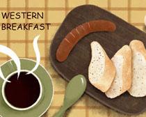 面包香肠早餐PSD素材