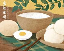 鸡蛋包子米饭PSD素材