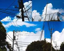 电线杆天空白云摄影高清图片