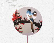 梅花小鸟传统艺术PSD素材