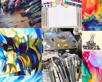 涂畫色彩顏料攝影高清圖片