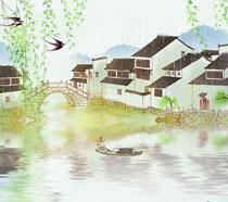 柳树风景房屋PSD素材