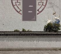 中国风房屋墙壁背景PSD素材