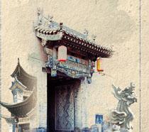 中国古典房屋展示PSD素材