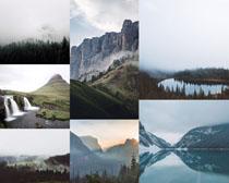 云霧山峰景觀攝影高清圖片