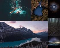 夜色山峰森林風景攝影高清圖片