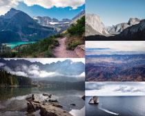 山峰湖水風光攝影高清圖片