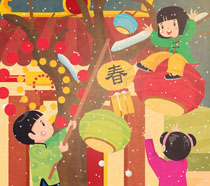 春节快乐孩子插画PSD素材