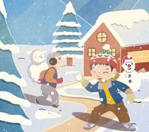 打雪仗小孩绘画PSD素材