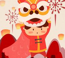 新年舞狮卡通插画PSD素材