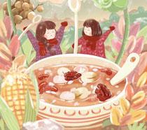 食物与双胞胎插画PSD素材