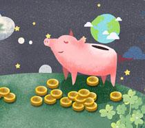 卡通猪存钱PSD素材