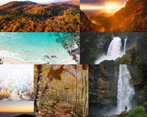瀑布自然山水風光攝影高清圖片