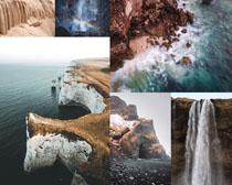 瀑布大海風光攝影高清圖片