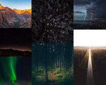 森林夜色山峰攝影高清圖片