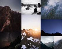 山峰森林美麗風光攝影高清圖片