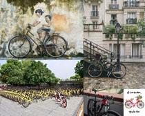 老式新式自行车摄影高清图片